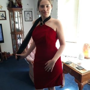 Vintage red crushed velvet dress with silky scarf